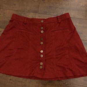 Zara Red Velvet Mini Skirt - Small